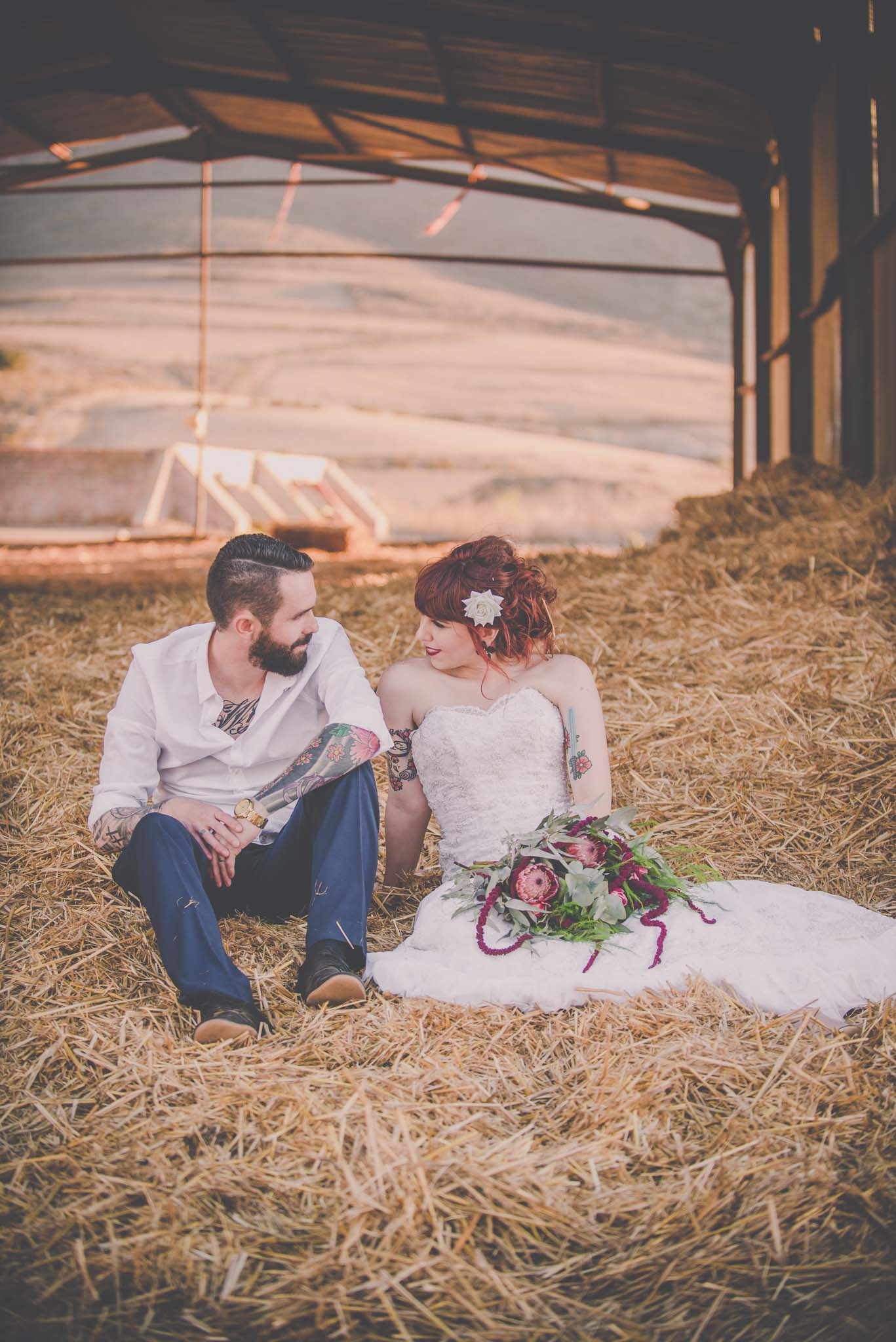 Couples in a barn